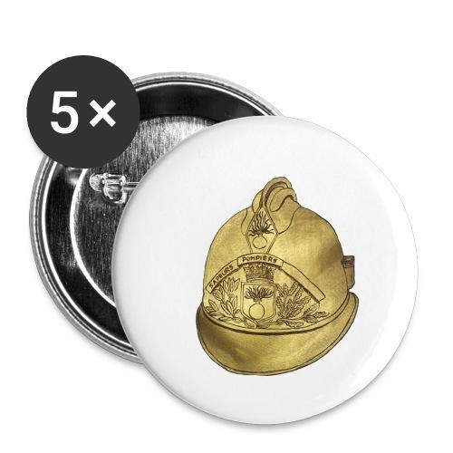 Casque pompier - Lot de 5 petits badges (25 mm)