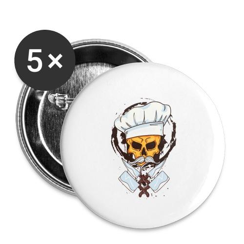 Chefkoch Totenkopf - Gekreuzte Messer - Buttons klein 25 mm (5er Pack)