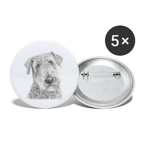 airedale terrier - Buttons/Badges lille, 25 mm (5-pack)