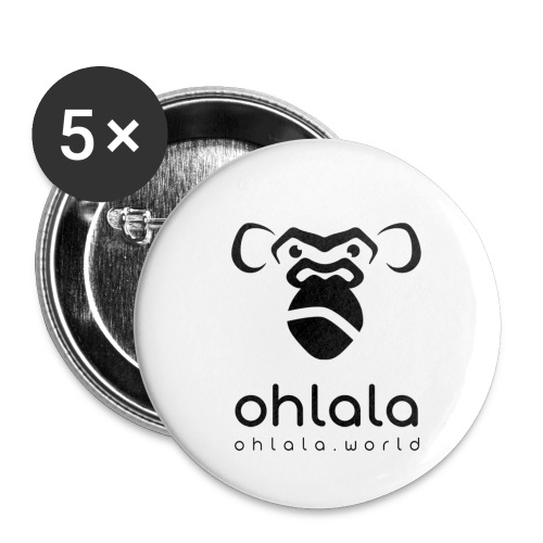 Ohlala Crazy BLACK - Lot de 5 petits badges (25 mm)