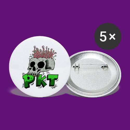 Skull and wormes - Lot de 5 petits badges (25 mm)
