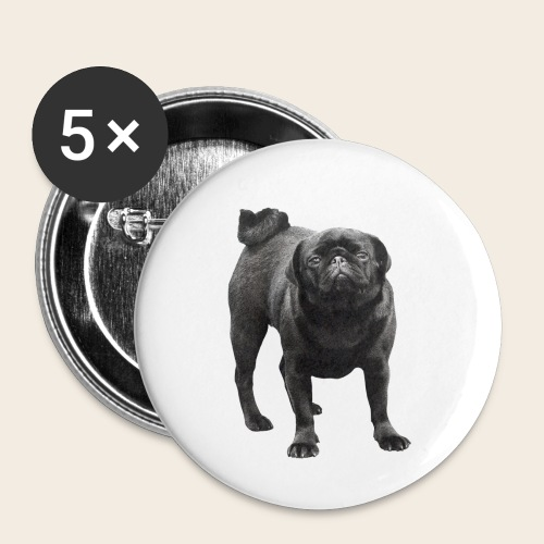 schwarzer Mops - Buttons klein 25 mm (5er Pack)