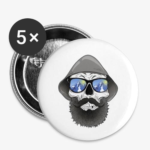 Totenkopf mit sonnenbrille und hut - Buttons klein 25 mm (5er Pack)