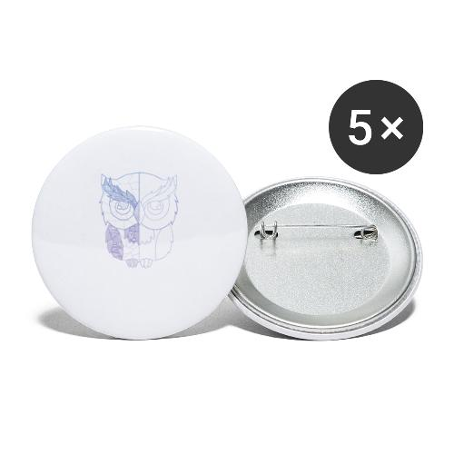 Eule - Buttons klein 25 mm (5er Pack)