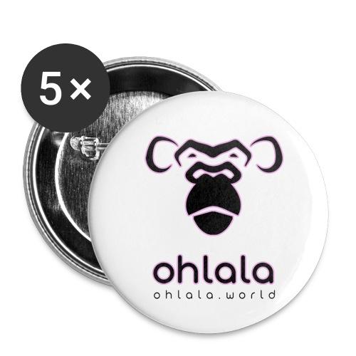 Ohlala Black & Pink - Lot de 5 petits badges (25 mm)