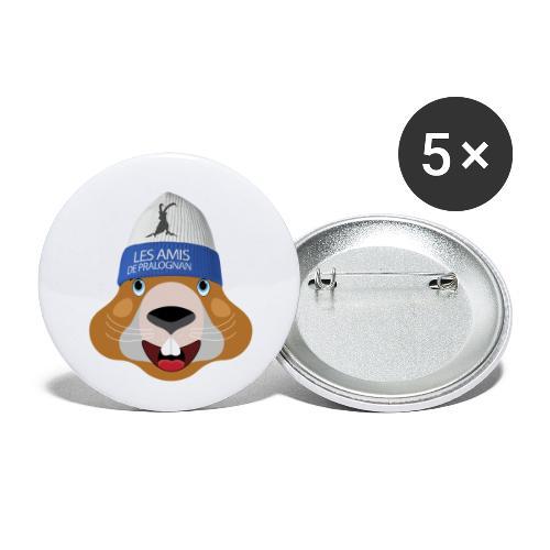 tete marmotte bonnet - Lot de 5 petits badges (25 mm)