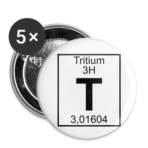 T (tritium) - Element 3H - pfll - Buttons small 1''/25 mm (5-pack)