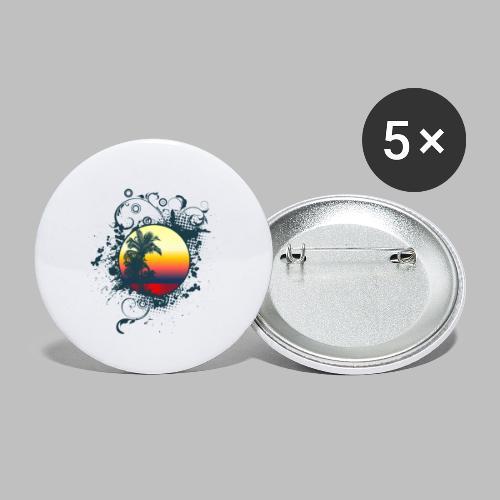 Sonnenuntergang Palmen ornament - Buttons klein 25 mm (5er Pack)