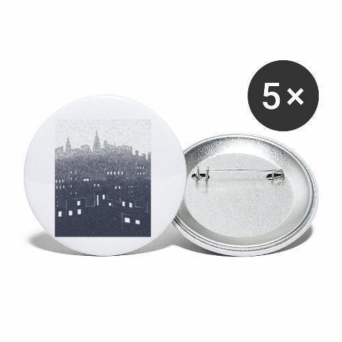 citysnow rectangle - Lot de 5 petits badges (25 mm)