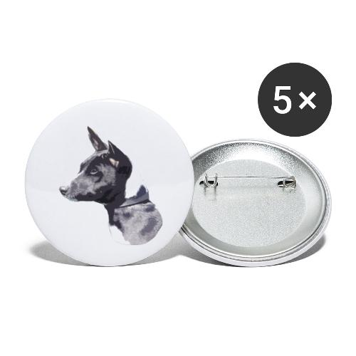 basenji black - Buttons/Badges lille, 25 mm (5-pack)