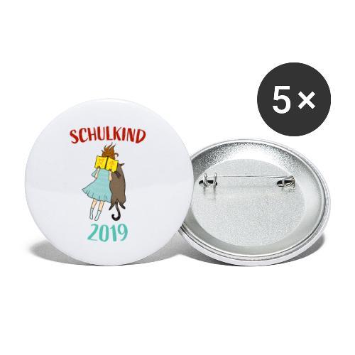 Schulkind 2019   Einschulung und Schulanfang - Buttons klein 25 mm (5er Pack)