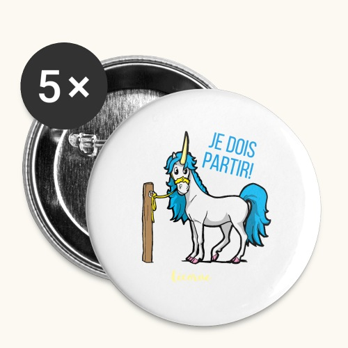 Lustiges Einhorn mit Spruch Französisch Geschenk - Lot de 5 petits badges (25 mm)