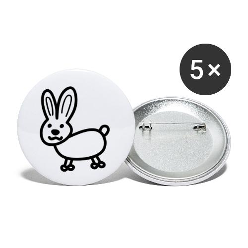 Hase Comicfigur - Buttons klein 25 mm (5er Pack)