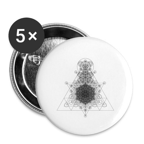 Sacred Geometry Higher Dimension Black - Buttons small 1''/25 mm (5-pack)