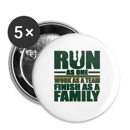 Running Team Gift Run as One Work as a Team - Buttons small 1''/25 mm (5-pack)