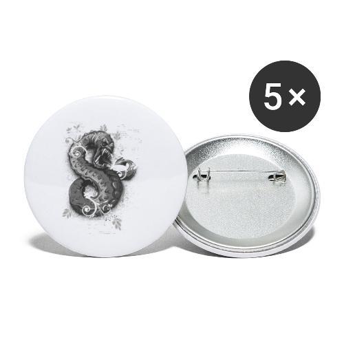 Schlange - Buttons klein 25 mm (5er Pack)