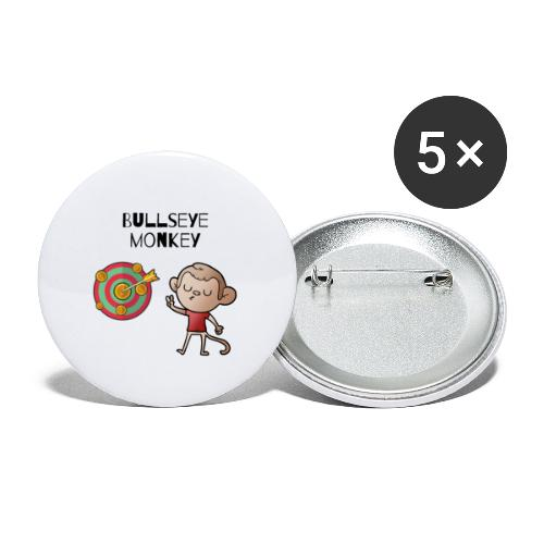 Bullseye monkey - freches Äffchen am Dartboard - Buttons klein 25 mm (5er Pack)