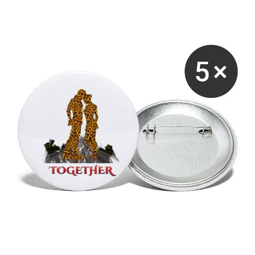 Together leopard - crocodile red color - Lot de 5 petits badges (25 mm)