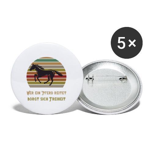 Wer ein Pferd reitet borgt sich Freiheit | Spruch - Buttons klein 25 mm (5er Pack)