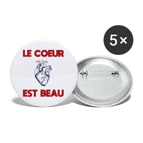 Le coeur est beau - Buttons klein 25 mm (5er Pack)