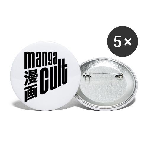 Manga Cult Logo Schwarz - Buttons klein 25 mm (5er Pack)