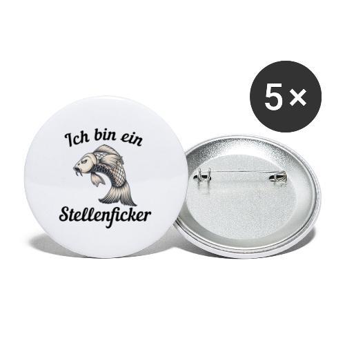 Ich bin ein Stellenficker Karpfen - Buttons klein 25 mm (5er Pack)
