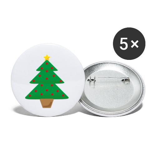 Sapin de Noel - Lot de 5 petits badges (25 mm)