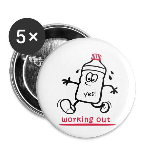 Jogger, working out, Sportler - Buttons klein 25 mm (5er Pack)