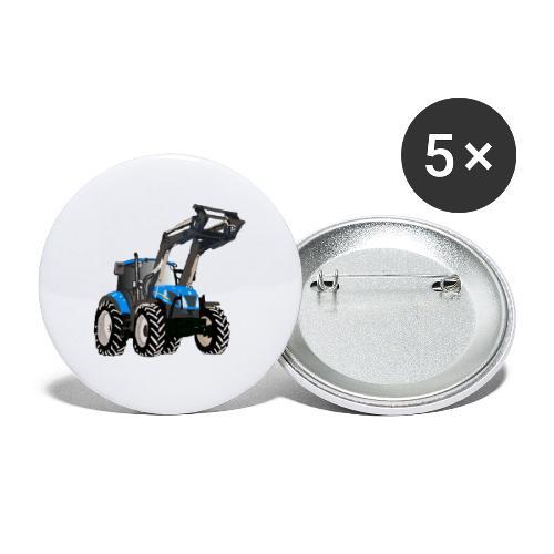 Blauer Traktor mit Frontlader - Buttons klein 25 mm (5er Pack)