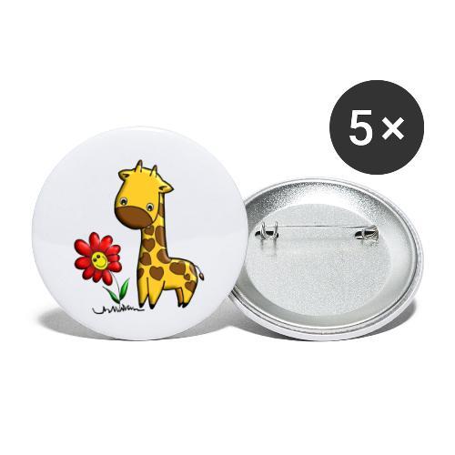 Girafe fleur, Giraffe blume - Lot de 5 petits badges (25 mm)