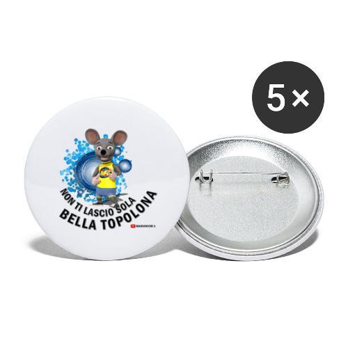 Bella Topolona testo Nero - Confezione da 5 spille piccole (25 mm)