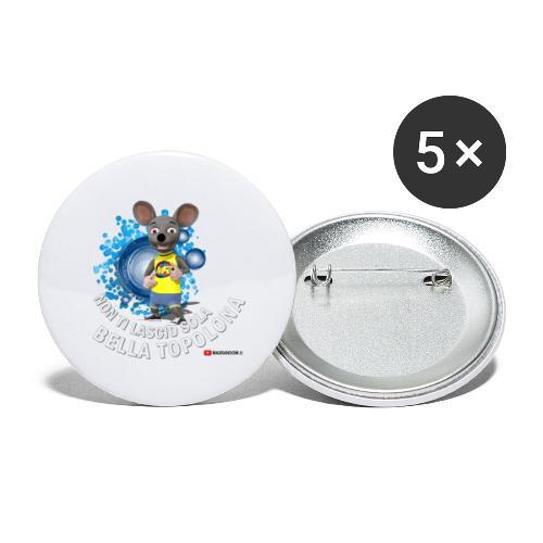 Bella Topolona testo Bianco - Confezione da 5 spille piccole (25 mm)