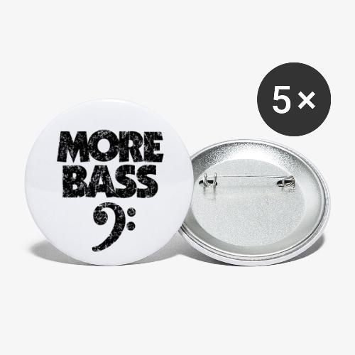More Bass (Vintage/Schwarz) Bassisten - Buttons klein 25 mm (5er Pack)