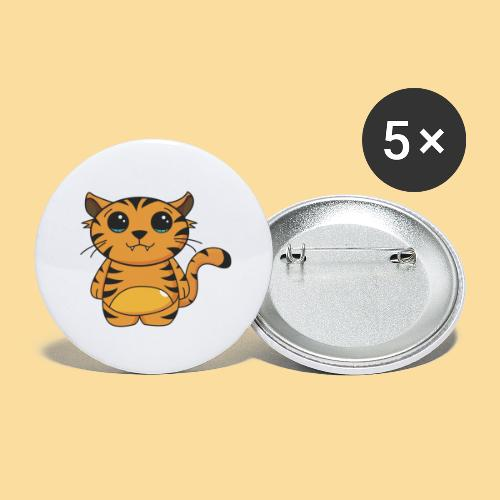 tiger shaped - Buttons small 1''/25 mm (5-pack)