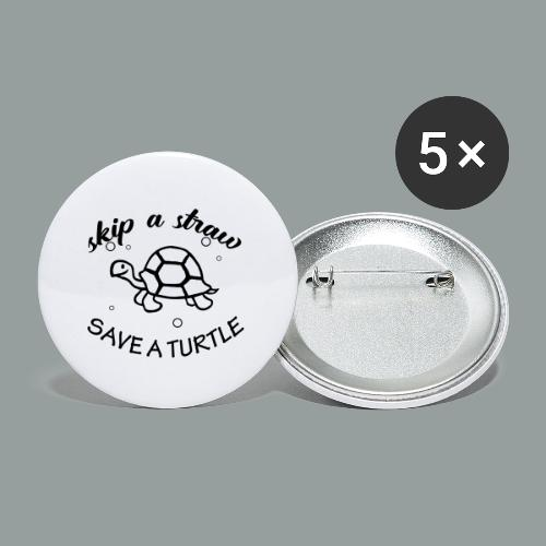skip a straw save a turtle - Buttons klein 25 mm (5er Pack)