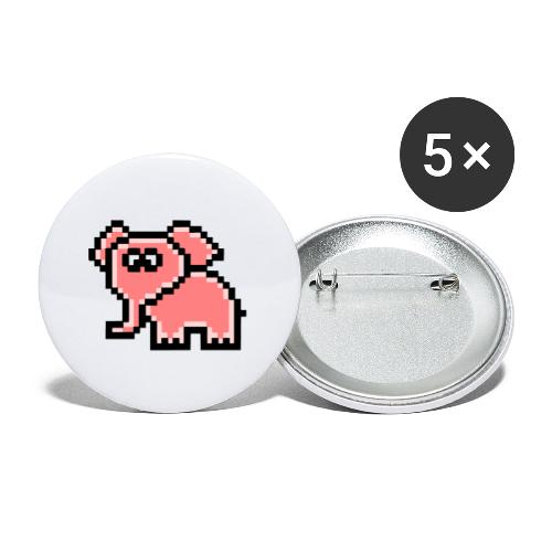 Elefant rosa - Buttons klein 25 mm (5er Pack)