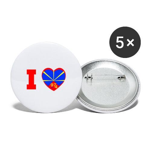 I love 974 - Lo Mahaveli - Lot de 5 petits badges (25 mm)