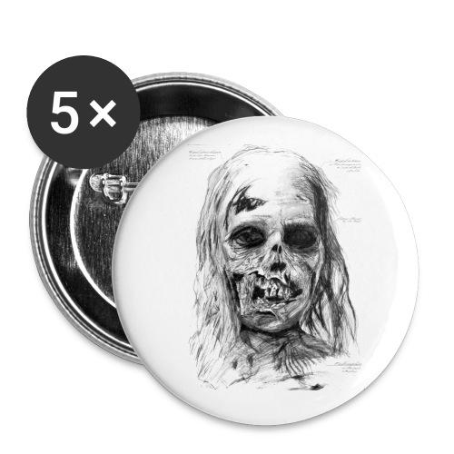 Zombie Kopf - Buttons klein 25 mm (5er Pack)