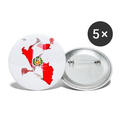 Mapa del Peru, Bandera y Escarapela - Lot de 5 petits badges (25 mm)
