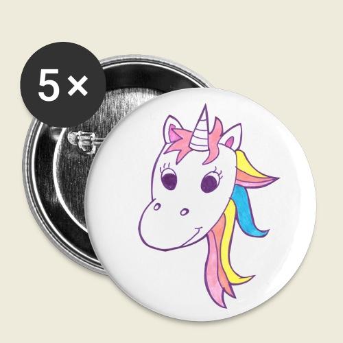 Einhorn Unicorna lila weiß bunte Mähne - Buttons klein 25 mm (5er Pack)