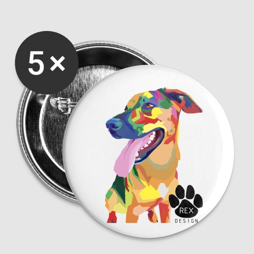 Big Tongue Dog - Buttons small 1''/25 mm (5-pack)