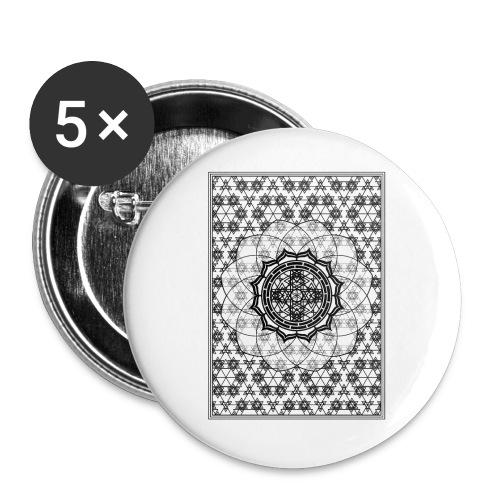 Sacred Geometry Black Framed Flower - Buttons small 1''/25 mm (5-pack)