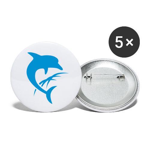 AquaSoft-Logo (Delfin) - Buttons klein 25 mm (5er Pack)