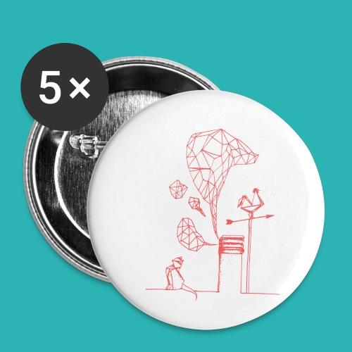 Carta_gatta_pink-png - Confezione da 5 spille piccole (25 mm)