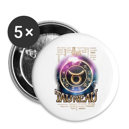 TAUREAU - Lot de 5 petits badges (25 mm)