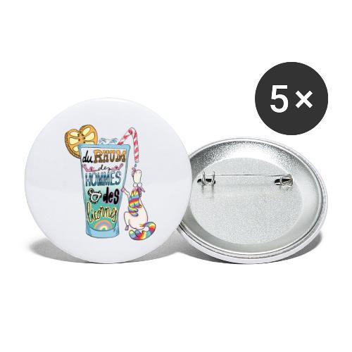 Du Rhum et des Licornes ! - Lot de 5 petits badges (25 mm)