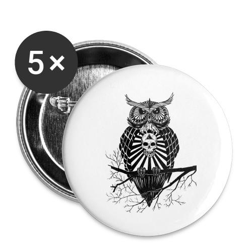 Hibou Psychédélique - Lot de 5 petits badges (25 mm)