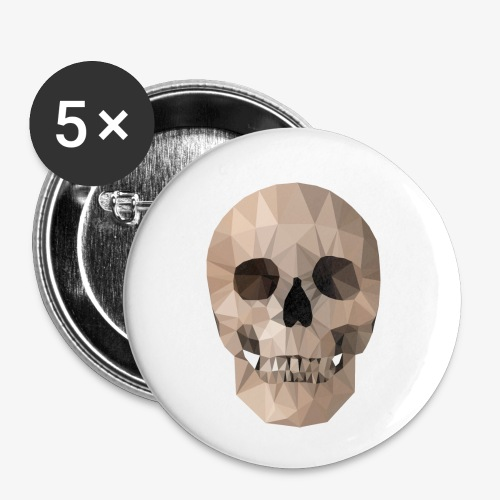 Poly Skull - Buttons klein 25 mm (5er Pack)