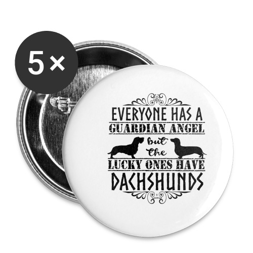 Dachshund WH SH Angels - Buttons small 1''/25 mm (5-pack)