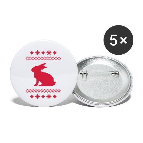 Norwegerhase hase kaninchen häschen bunny langohr - Buttons klein 25 mm (5er Pack)